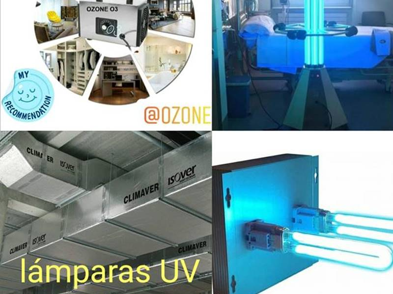 Sistemas de desinfección nebulizante, ozono y lámparas ultravioleta para salas, oficinas o locales comerciales
